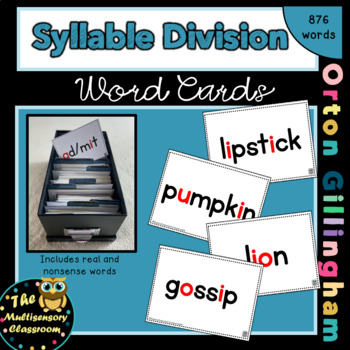 Orton-Gillingham Syllable Division Word Cards