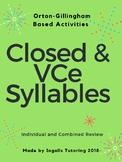 Orton-Gillingham Syllables: Closed & VCe Introduction