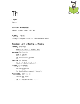 Orton Gillingham - Th Letter sounds - Dictation sheet - Letter sound Worksheet