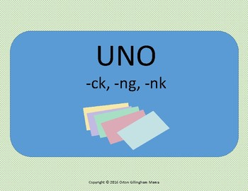 Orton Gillingham UNO card game ck, ng, nk