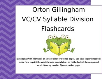 Orton Gillingham VC/CV Compound Word Flashcards