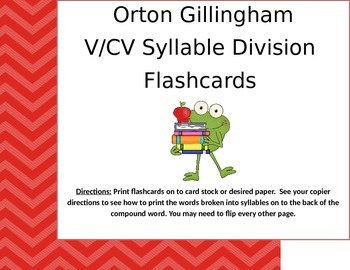 Orton Gillingham V/CV Compound Word Flashcards.