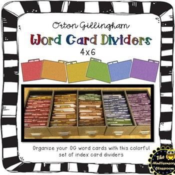 Orton Gillingham Word Card Dividers