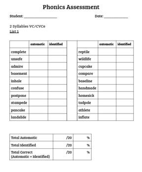 Orton-Gillingham Word List Assessment - 2 Syllables VC/CVCe
