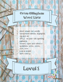 Orton Gillingham Word Lists Level 1