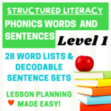 Orton Gillingham Word and Sentence Lists for Level 1-Lesson plans