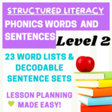 Orton Gillingham Word and Sentence Lists for Level 2- Less