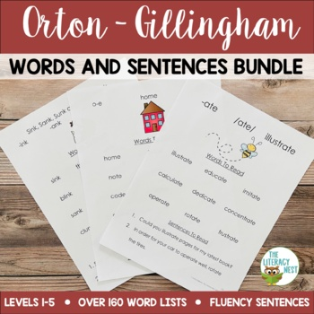 Orton-Gillingham Words Lists Levels 1-5 Multisensory Phoni