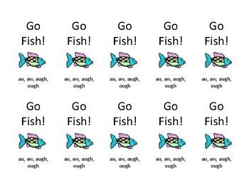 Orton Gillingham au, aw, augh, ough Go Fish card game
