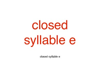 Orton-Gillingham closed syllable e cards