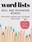 Word Lists (Real & Nonsense): Phonics, Structured Literacy