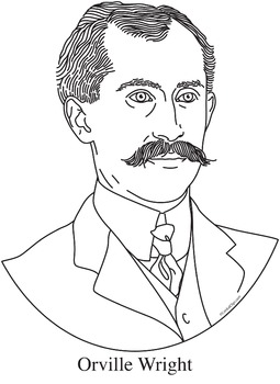 Orville Wright Realistic Clip Art, Coloring Page, and Poster