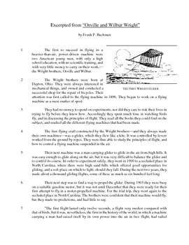 Orville and Wilbur Wright - Informational Text Test Prep