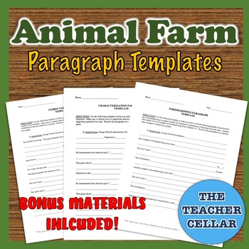 Orwell's Animal Farm: 6 Paragraph Templates - Main Characters, Symbol, & More!