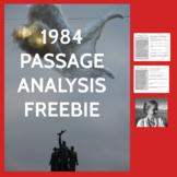 Orwell's 1984 Passage Analysis Handouts, High School ELA No-Prep