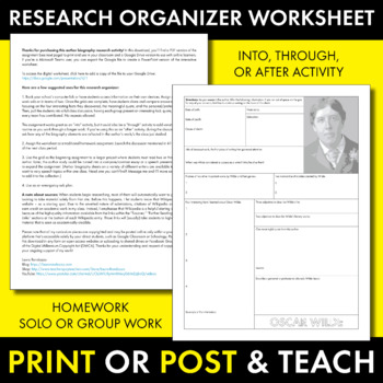 Oscar Wilde Author Study Worksheet, Easy Biography Activity, CCSS