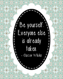 Oscar Wilde Inspirational Quote Poster, Library Art