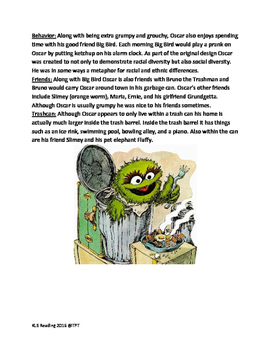 Oscar the Grouch - reading lesson history June 1 birthday questions vocab