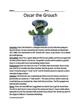 Oscar the Grouch - reading lesson history June 1 birthday
