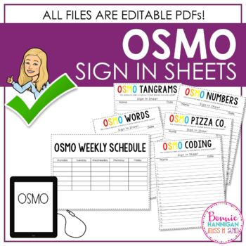 Osmo Sign In Sheets For The Classroom EDITABLE