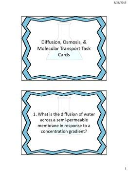 Osmosis, Diffusion, & Molecular Transport Task Cards