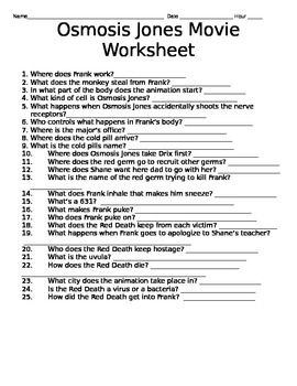 Printables Osmosis Jones Worksheet osmosis jones movie questions by krista fournerat teachers pay questions