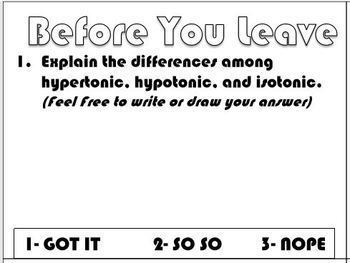 Osmosis (Movement of Water) Science Doodle Note w/ FREE EXIT TICKET