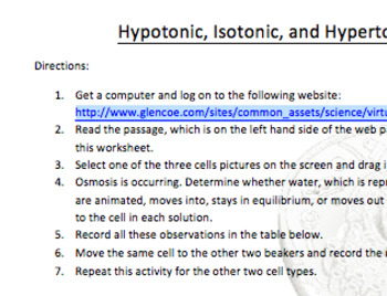 Hypertonic, Hypotonic, Isotonic Webquest