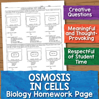 Osmosis In Cells Biology Homework Worksheet By Science With Mrs Lau
