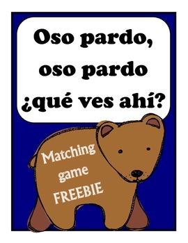 Oso pardo, oso pardo: que ves ahi? Matching Game FREEBIE