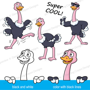 Ostrich Clip Art | Ostrich with signs