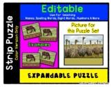 Ostrich Type Bird - Expandable & Editable Strip Puzzle wit