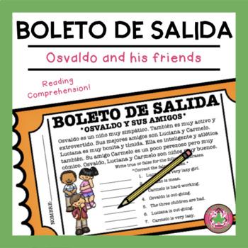Osvaldo y sus amigos Reading Comprehension Exit Slip
