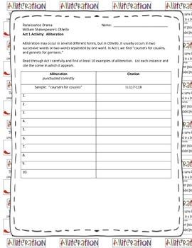 Othello Act 1 Alliteration Activity