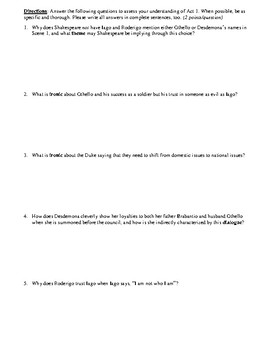 Othello Act 1 Multiple Choice and Short Answer Quiz