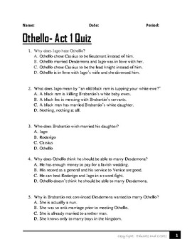 othello act 1 teaching resources teachers pay teachers rh teacherspayteachers com Othello Book Cover othello act 1 scene 3 study guide answers