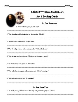 Othello Act 1 Reading Guide
