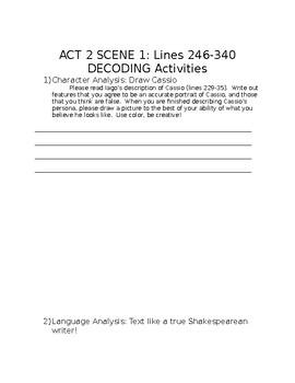Othello: Act 1 Scene 3 and Act 2 Scene 1: Decoding Activities