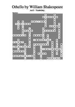Othello - Act 2 Vocabulary Crossword
