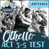 ⭐Shakespeare Othello Act 3-5 Quiz Test Character Quote Analysis