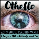 Othello Act 3 Guided Reading Packet PLUS PowerPoint