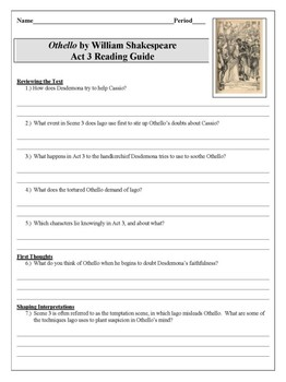 Othello Act 3 Reading Guide