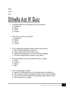 Othello Act 4 Quiz
