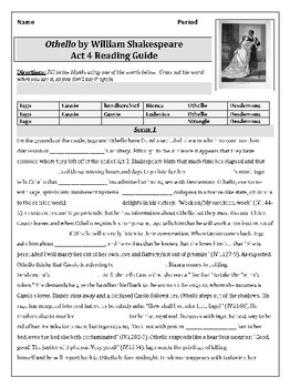 Othello Act 4 Reading Guide