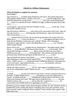 Othello - Act 4 - Summative Learning Activities