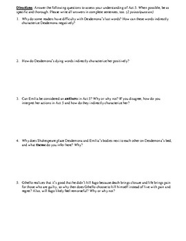 Othello Act 5 Multiple Choice and Short Answer Quiz