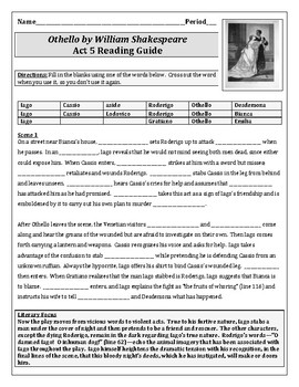 Othello Act 5 Reading Guide