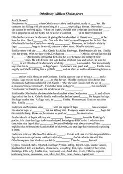Othello - Act 5 Summative Learning Activities
