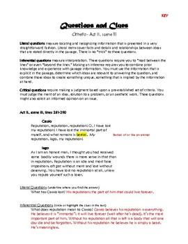 Othello Act II, Scene iii: Questions and Clues
