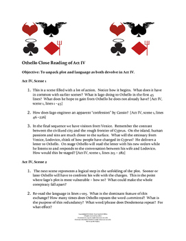 Othello Act IV Close Reading